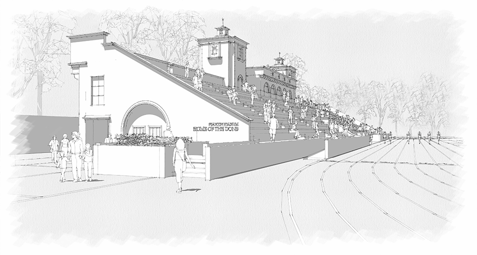 Architectural drawing of stadium, view from field house